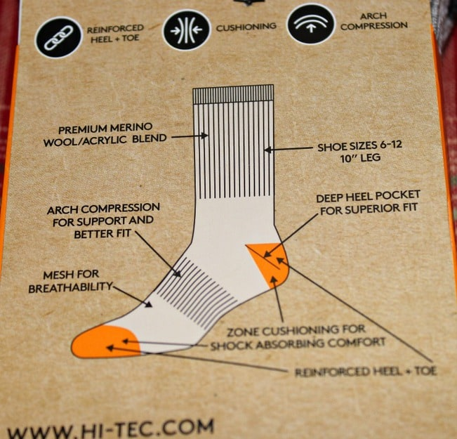 hi-tec-sock-features