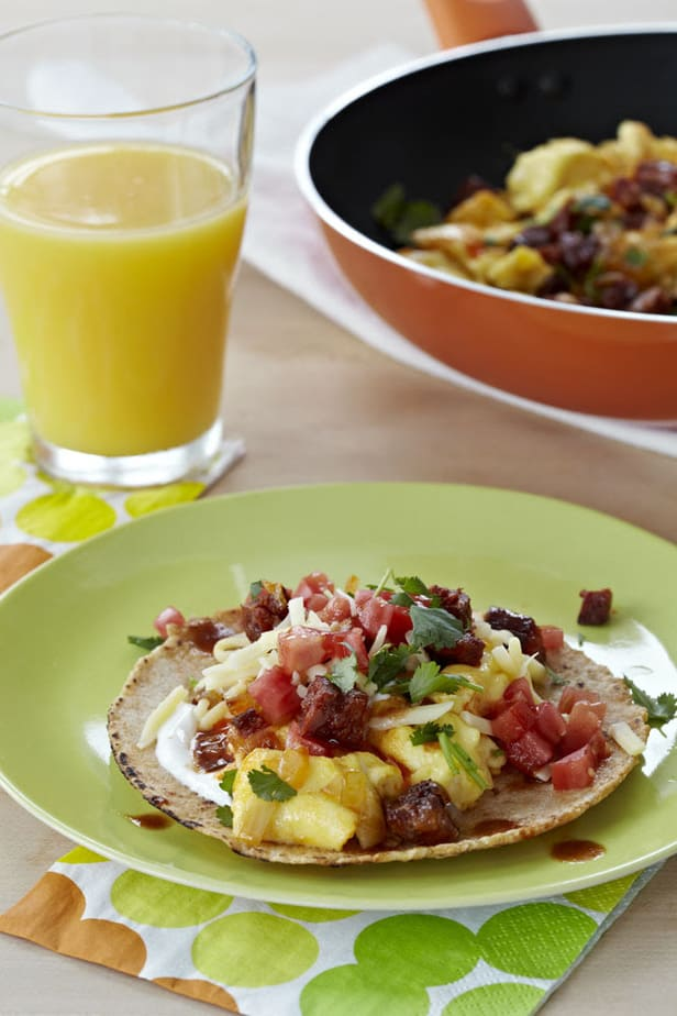 Chorizo Scrambled Egg Taco Breakfast